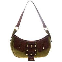 Saint Laurent Green/Brown Suede and Leather Shoulder Bag