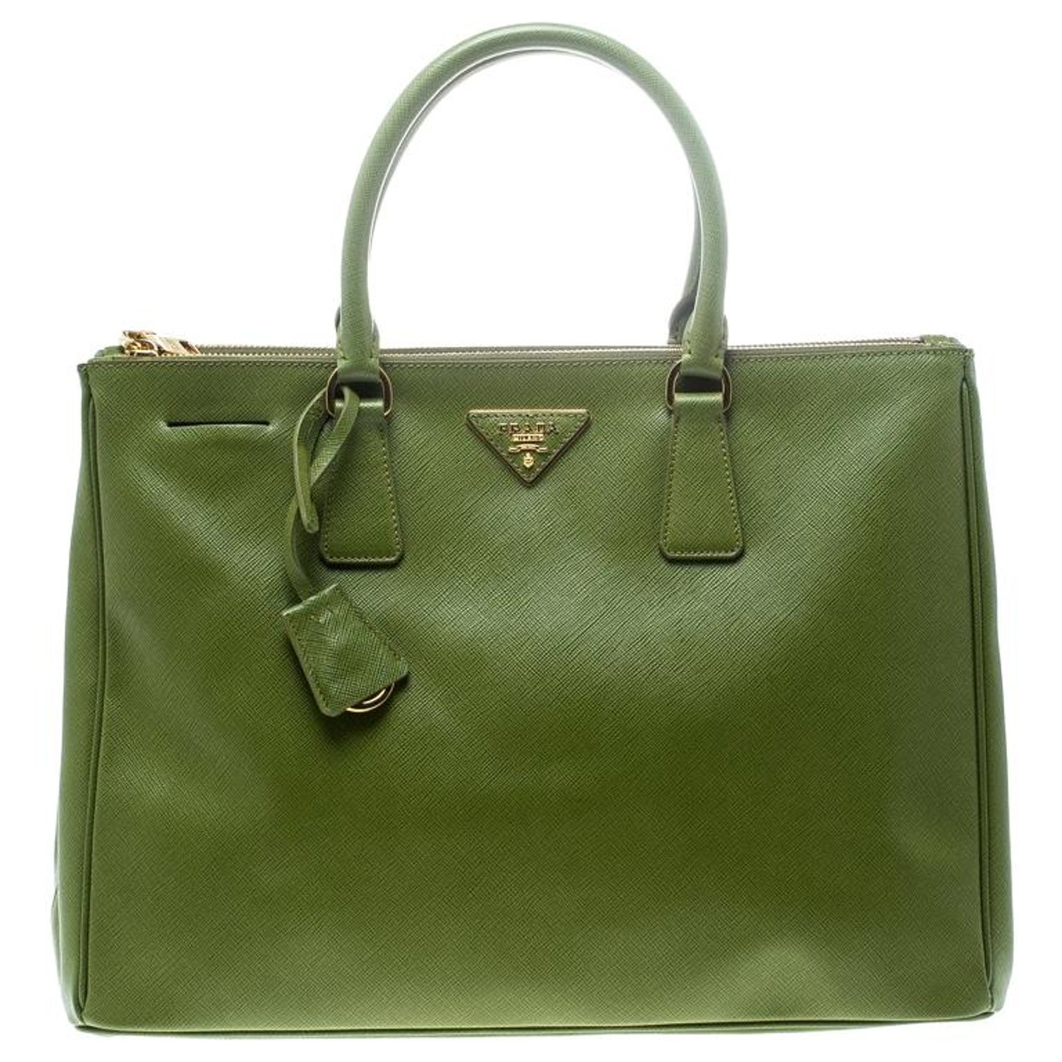 339ad60d117c Prada Green Saffiano Lux Leather Large Double Zip Tote For Sale at 1stdibs