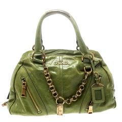 Prada Grüne Vitello Leder Bowler Tasche