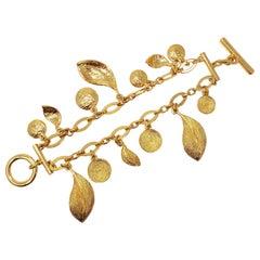 Oscar de la Renta Double Strand Floral Charm Toggle Clasp Bracelet in Gold
