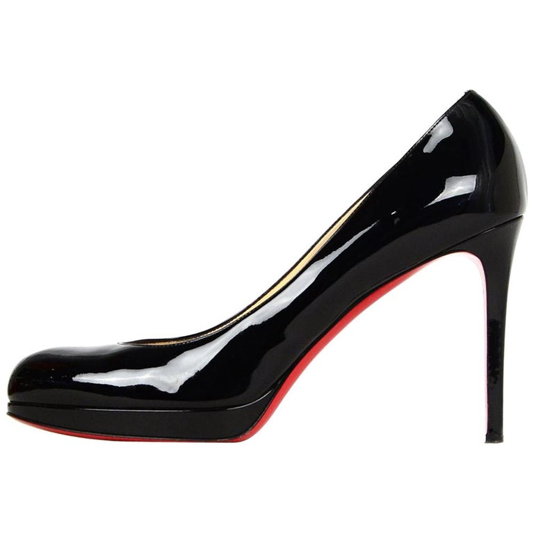 Christian Louboutin Black Patent Leather Simple Pump Sz 41 W/ DB For Sale