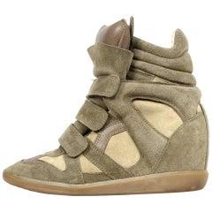 Isabel Marant Grey Suede Wedge Hightop Sneakers Sz 38