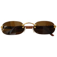 1990s Porta Romana Skinny Chocolate Wood Stain Sunglasses