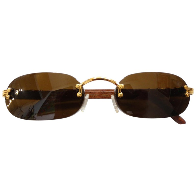Porta Romana 1990s Skinny Chocolate Wood Stain Sunglasses  For Sale