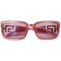 1990s Versace Pink Greek Key Rectangle Sunglasses