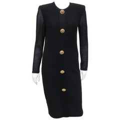Scaasi 1980's Black Knit Dress With Large Gold Buttons