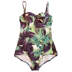 Dolce & Gabbana Eggplant Aubergine Bathing Swimming Suit Purple Green White