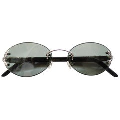 1990s Porta Romana Skinny Black Wood Stain Sunglasses