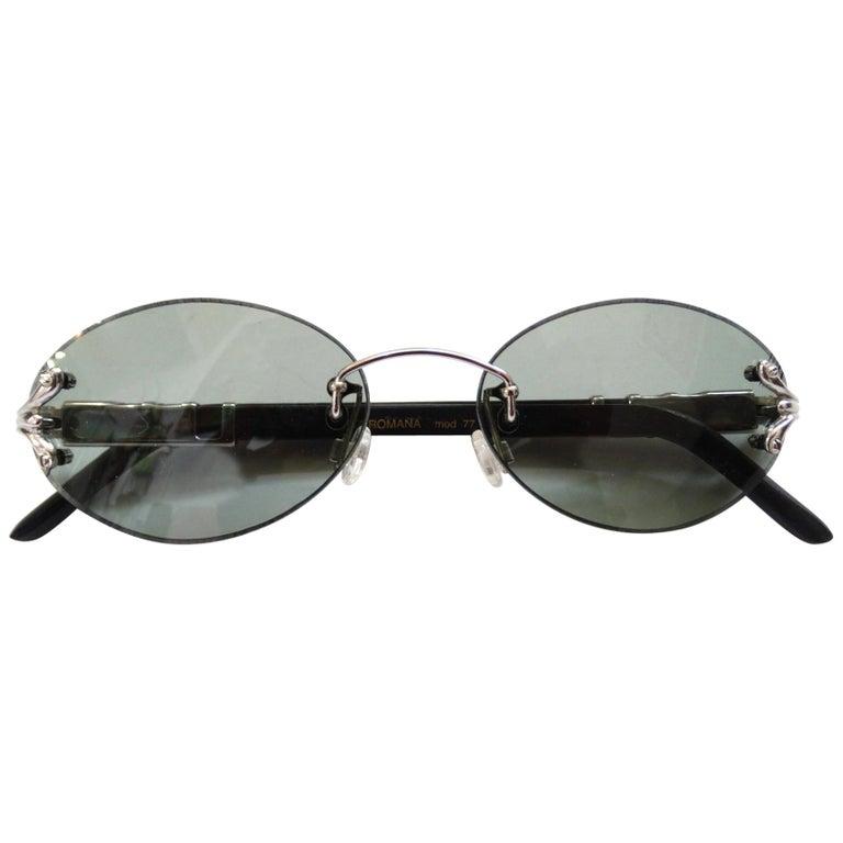 Porta Romana 1990s Skinny Black Wood Stain Sunglasses  For Sale