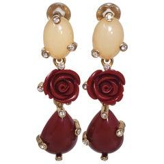 Oscar de la Renta Crystal and Faux Coral Dangling Flower Earrings