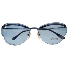 1990s Versace Blue Butterfly Lens Sunglasses with Rhinestones