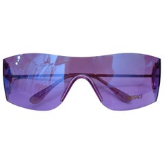 1990s Versace Purple Iridescent Shield Sunglasses