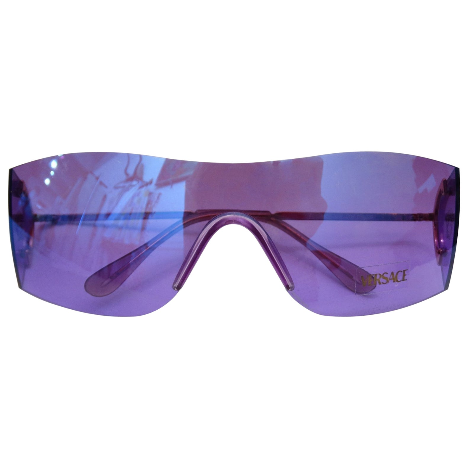 44a0a958a8d 1990s Versace Purple Iridescent Shield Sunglasses at 1stdibs