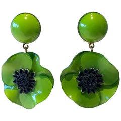 Green Poppy French Statement Earrings by Cilea