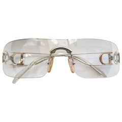 1990s Christian Dior Clear Lens Shield Sunglasses