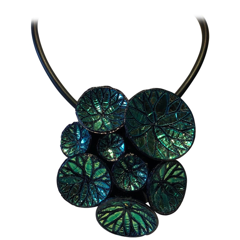 Metallic Blue Architectural Origami French Statement Necklace  For Sale