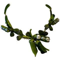 Designer Peapod Pearl Statement Necklace