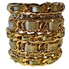 Vintage Chanel '87 Gold Woven Leather Chain Statement Cuff Bracelet