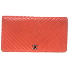 880ab4c3c8d7 Chanel Orange Chevron Leather CC Long Wallet. Chanel Zip Around Wallet Quilted  Lambskin Long
