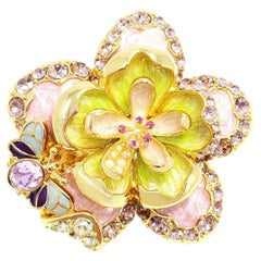 Jay Strongwater Spring Blossom Enamel, Crystal and Simulated Pearl Pin Pendant