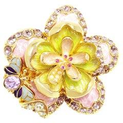 Frühlingsblumen-Anhänger von Jay Strongwater aus Emaille, Kristall und Kunstperle