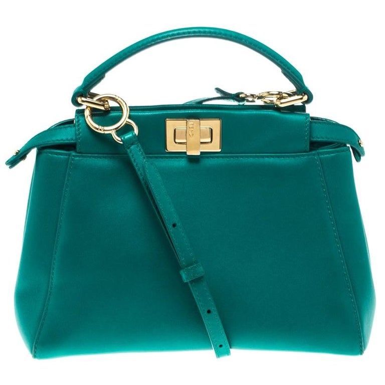 57f54e73d6e Fendi Green Leather Mini Peekaboo Top Handle Bag For Sale at 1stdibs