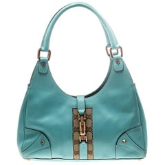 Gucci Turquoise Leather and GG Canvas Jackie O Hobo