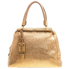 Saint Laurent Metallic Gold Leather Medium Majorelle Tote Bag