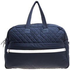 Chanel Navy Blue Nylon Sport Line Front Zip Weekender Travel Bag