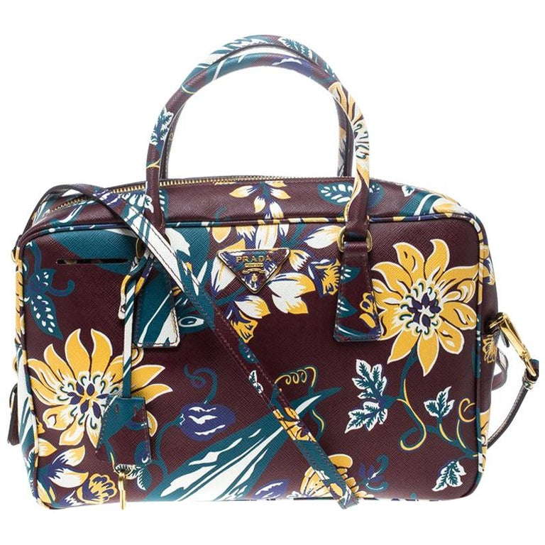 ccfab42d5159 Prada Burgundy Saffiano Print Leather Top Handle Bauletto Bag For Sale