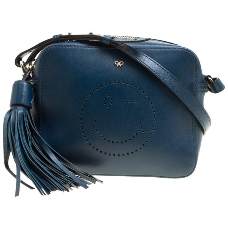 Anya Hindmarch Blue Leather Smiley Crossbody Bag For Sale