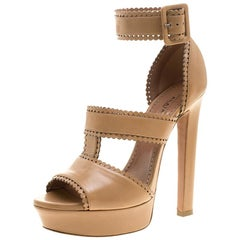 Alaia Brown Leather Platform Sandals Size 39.5