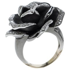 Annamaria Cammilli Diamond&Black Rhodium Plated 18k Gold Cocktail Ring Size 51