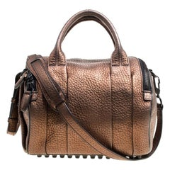122135ac99 Alexander Wang Bronze Textured Leather Rocco Top Handle Bag
