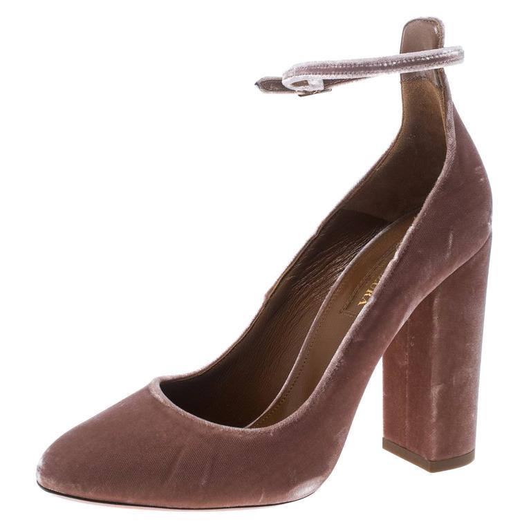 7fb332cc7bb Aquazzura Beige Velvet Alix Ankle Strap Block Heel Pumps Size 37