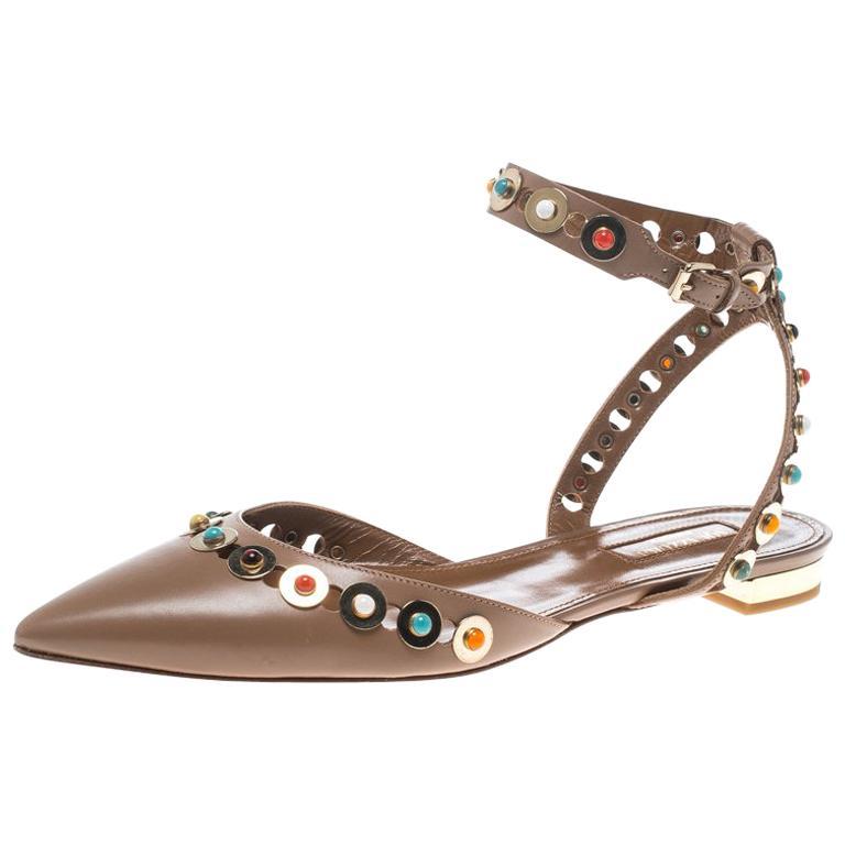 3cc0071b0 Aquazzura Leather Byzantine Stud Embellished Pointed Toe Flat Sandals Size  38 For Sale