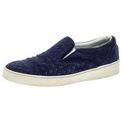 Bottega Veneta Blaue Intrecciato Wildleder Slip On Sneakers Größe 41,5