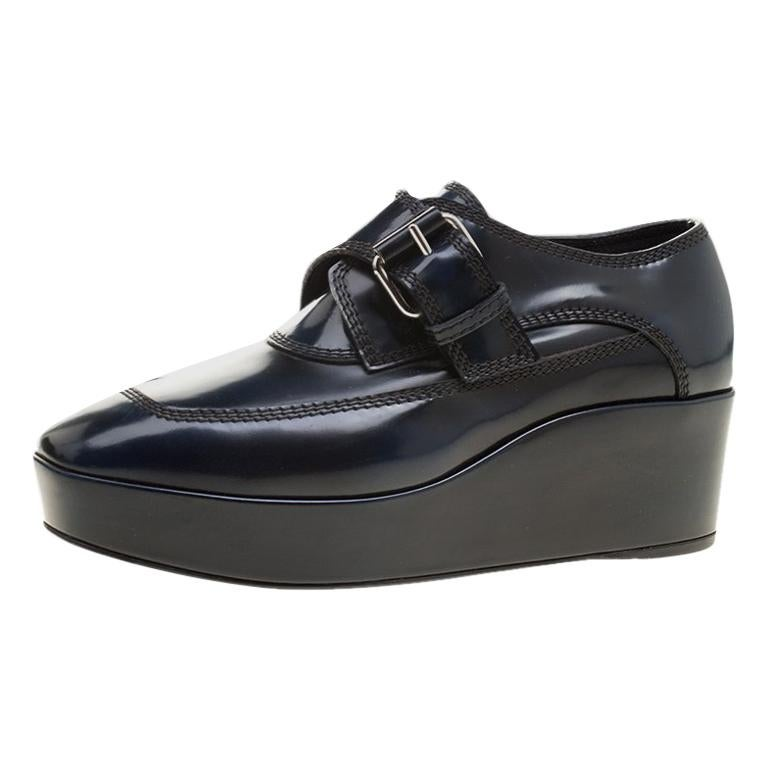 609ddf2ec42e Balenciaga Oxford Blue Leather Monk Strap Platform Loafers Size 36 For Sale