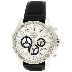 Breitling Bentley Silber Weiße Edelstahl Barnato Racing Chronograph A25366