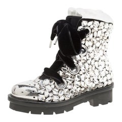 Alexander McQueen Suede All Over Crystals Pleat Trim Platform Biker Boots Size39