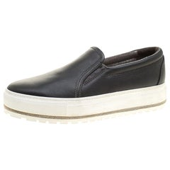 Brunello Cucinelli Schwarze Leder Slip On Sneakers Größe 39,5