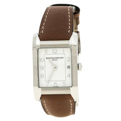 Baume & Mercier Weiße Edelstahl Hampton Damen Armbanduhr 22mm