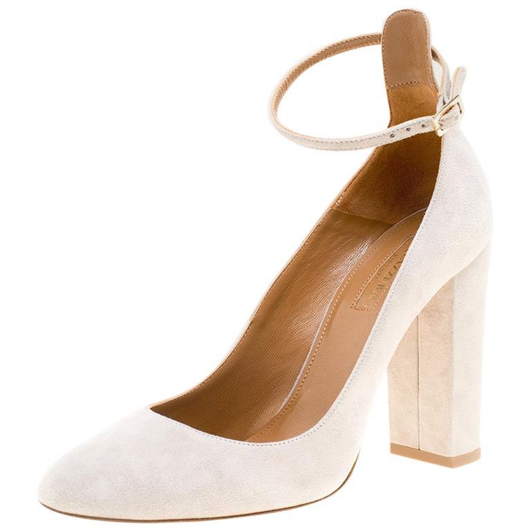 42e583cd0f1 Aquazzura Grey Suede Alix Ankle Strap Block Heel Pumps Size 38