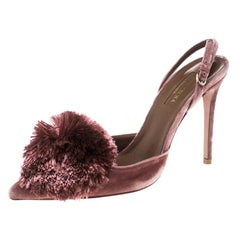 Aquazzura Pink Velvet Powder Puff Pointed Toe Slingback Sandals Size 37.5