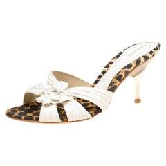 Baldinini Weiße Plissee Leder Peep Toe Slides Größe 36