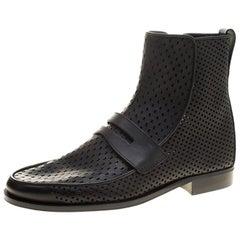 Bottega Veneta Schwarze Leder Loafer Boots aus Perforiertem Leder Größe 40