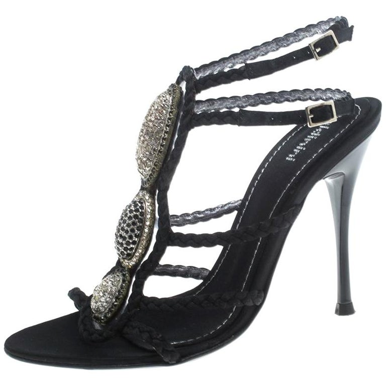 afb9d997afc Baldinini Black Braided Satin Crystal Embellished Ankle Strap Sandals Size  36 For Sale