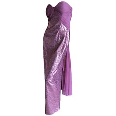Vicky Tiel Paris 80's Lavender Pink Strapless Sequin Corseted Evening Dress Sz 4