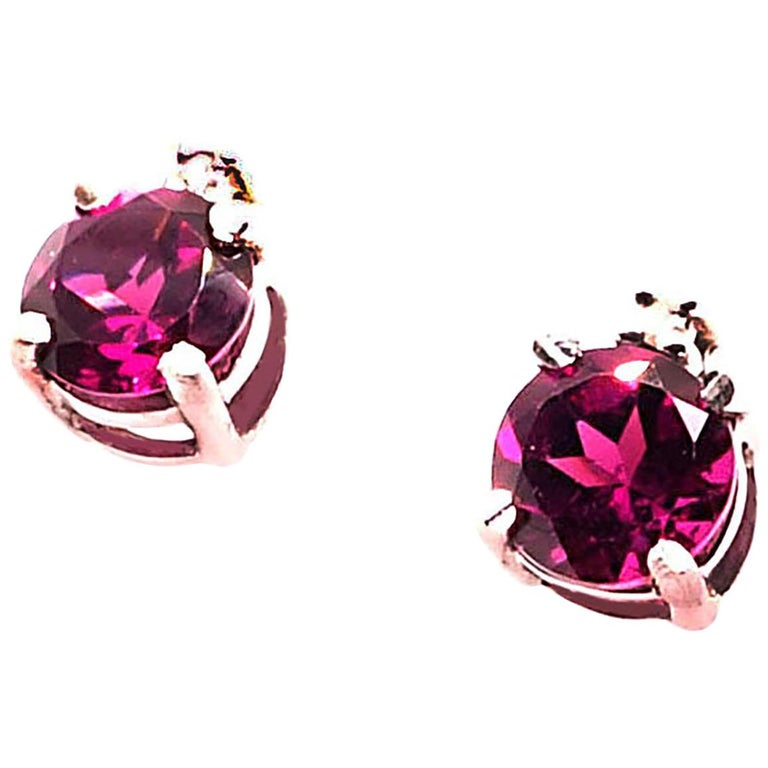 Sparkling Round Rhodolite Garnet Stud Earrings With Diamond Accents For Sale