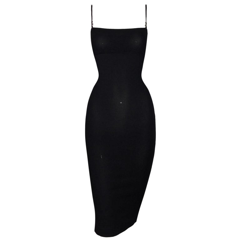 1e7986b594 1999 Gucci by Tom Ford Black Knit Bodycon Midi Dress M For Sale at ...
